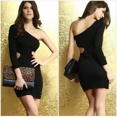 Free Shipping Sheath Single Full Sleeve Hollow-out Pullover Sexy Party Dress Women Slim Night Club Dress Lady One-piece Dress $18.30