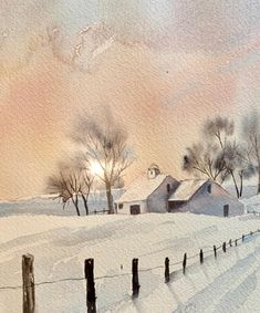 Image may contain: snow, sky, tree, outdoor and nature Watercolor Painting Techniques, Watercolor Projects, Watercolor Landscape Paintings, Painting Snow, Winter Painting, Winter Art, Winter Landscape, Landscape Art, Watercolor Illustration