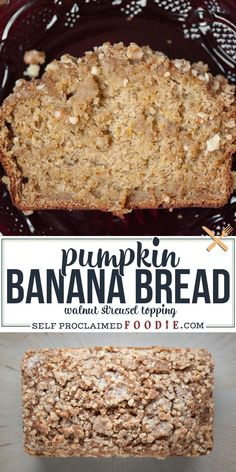 Pumpkin Banana Bread with Walnut Streusel topping celebrates the best of fall. The pumpkin and banana make it the most moist banana bread ever! Similar to my classic pumpkin bread recipe, but with more! #pumpkinbread #bananabread #pumpkinbananabread #topping #streusel #recipe Tasty Bread Recipe, Quick Bread Recipes, Donut Recipes, Baking Recipes, Banana Walnut Bread, Pumpkin Banana Bread, Moist Banana Bread, Breakfast Bread Recipes, Brunch Recipes