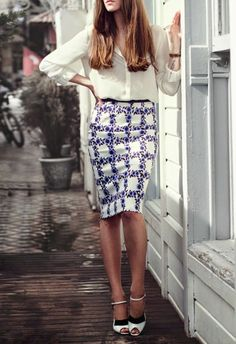 pencil skirt + sheer cream blouse