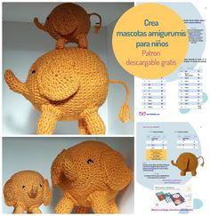 Amigurumi elefante, para crear y regalar a los niños.