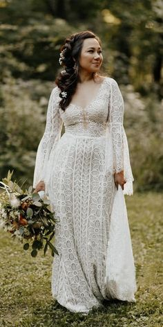 Lace Dress With Sleeves, Wedding Dress Sleeves, Fall Wedding Dresses, Wedding Dresses Plus Size, Boho Wedding Dress, Scottish Wedding Dresses, Whimsical Wedding Dresses, Wedding Dress Country, Plus Size Elopement Dress