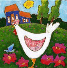 La poule fleurie par Isabelle Malo • Acrylique sur toile et collage • Mixed media • Folk art  • www.isamalo.com • Artiste peintre du Québec •Art naïf