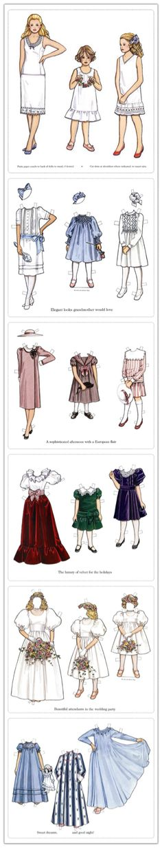 Free Paper Dolls With 3 Dolls (all female, they appear to be sisters) and 5 Pages of Clothing