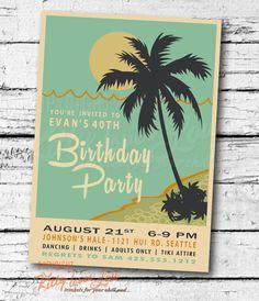 PRINTABLE BIRTHDAY INVITATION digital Retro Hawaiian Luau Bridal Wedding Engagement Birthday Party Bachelorette invite Beachy vintage on Etsy, $19.00