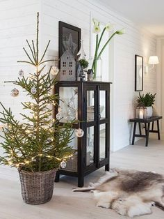 Scandinavian Living Room with Christmas decorations.