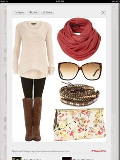 Perfect fall outfit for women of any age. Love the pops of color in the scarf & the bag!