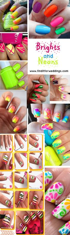 Neon #nails nail art design ideas Visit www.finditforweddings.com for top tips on how to do a professional manicure at home