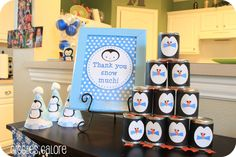 Penguin and Polar Bear Printable Birthday Party Package...Winter...Includes personalized Invite and Thank you. $30.00, via Etsy.