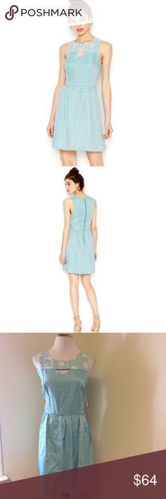 Just In! Kensie - Sleeveless Aqua Dress Perfect spring dress. Light teal blue color with subtle polka dots. Great floral lace design at the bodice. Exposed back zipper. Hits just above the knee. Kensie Dresses