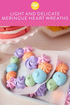 These Light and Delicate Meringue Heart Wreaths are a wonderful Galantine's Day brunch dessert—they pair nicely with a cup of tea and they're a cute and fun way to celebrate your favorite gal pals! Meringue Desserts, Meringue Cookies, Desserts To Make, No Bake Desserts, Dessert Recipes, Valentines Day Desserts, Valentine Treats, Rose Icing, Mini Meringues