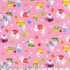 Adorable rabbits have brewed up a nice pot of tea and are ready to share with you! This quilting weight Japanese fabric is 100% cotton and is 43/44
