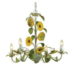 """AF Lighting 7048-4H Elements Series """"Kansas Sunflowers"""" Four-Light Chandelier with Cut Metal Flowers, Finished in Antique Cream (Ivory)"""