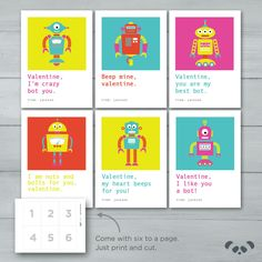 Kids Valentine cards | Robot Valentines  |  Robot Computer Kid Valentine Cards by PandafunkCreations on Etsy https://www.etsy.com/listing/501514099/kids-valentine-cards-robot-valentines