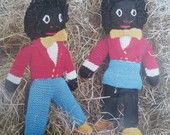Vintage Knitting Pattern 1970s- Knitted Soft Toys - Golly Dolls - Boy and Girl - 70s original pattern