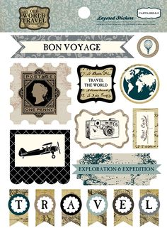Carta Bella Old World Travel Layered Stickers