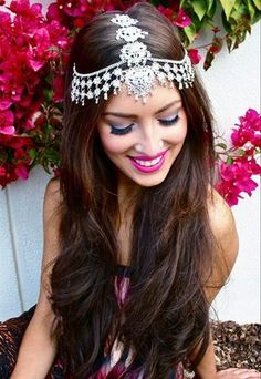 www.gardennearthegreen.com Head chain. Tikka for wedding. Wedding jewelry hair