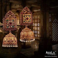 Bride in Peacock Diamond Jhumkas Indian Jewelry Earrings, Gold Jhumka Earrings, Indian Wedding Jewelry, India Jewelry, Antique Earrings, Antique Jewelry, Gold Jewelry, Bridal Jewelry, Jhumka Designs