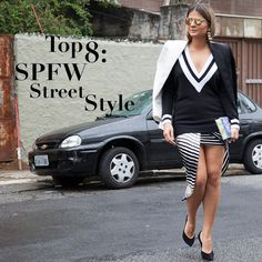 A blogueira Thassia Naves usando look preto e branco no SPFW