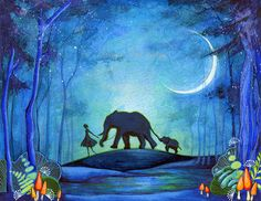 Girl with Elephants - Nature Hike Watercolor Painting Print - Elephant Blue Wall Art