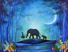 Girl with Elephants - Nature Hike Watercolor Painting Print - Elephant Blue Wall Art via Etsy