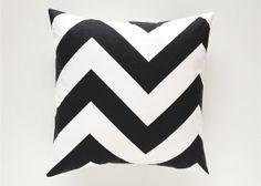Black Chevron Decorative Pillow Cover. Large Zig Zag Zippy Print