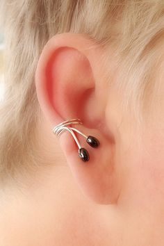 Ear cuff pair/Silverplated with hematite beads by TheLazyLeopard, $15.00