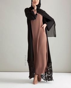 INAYAH | Limited Edition - A classic kimono with intricate lace detailing for added finesse. Black Georgette Kimono with Lace Hem Brown Nude Classic High Neck Abaya www.inayah.co