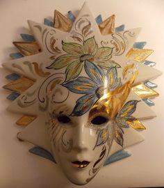 Vintage Retro Ceramic 1980s Kitsch Wall Plaque Painted Face Mask 21cm x 18.5cm