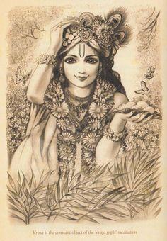 Krsna is the constant object of the Vraja gopis' meditation. Krishna Leela, Cute Krishna, Radha Krishna Love, Shree Krishna, Radhe Krishna, Hanuman, Krishna Tattoo, Krishna Drawing, Krishna Painting