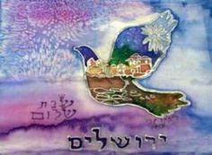 Shalom Jerusalem Print By Rivka Sari www.rivkasari.com  COPYRIGHT BY ARTIST  RIVKA SARI