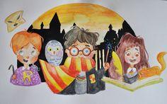 Harry Potter. Dibujo original  / Original Draw de Ateliartt en Etsy.   #harrypotter #hermioneGranger #Ronweasly #Hogwarts #hedwing #illustration