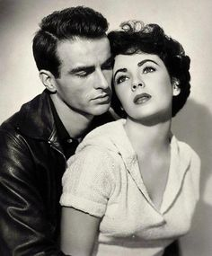 """Montgomery Clift, Elizabeth Taylor in """"A Place in the Sun"""" 1951."""