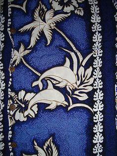 Mens Vtg Hawaiian Shirt S Small Blue White Dolphin Palm Hibiscus Tiki Aloha Luau