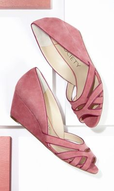 Soft suede mini wedges with a cut out front and piping detail. - I really like these!