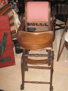 Antique Child's Convertible High Chair To Rocking Chair