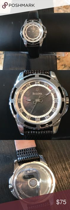 Woman's Bulova diamond leather band A classic time piece from Bulova. Perfect condition zero scratches, no wear on the leather strap. Stainless steel back. Diamonds and black mother of pearl face. Silver bezel. Battery operated. It is a very pretty light weight watch to wear. Bulova Jewelry