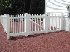 Vinyl Fence installed in rocks Carl's Fencing, Decking and Home Improvements www.bycarls.com 855-By-Carls NJ