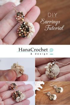 Flower Embroidery Pattern make your own statement jewelry for this holiday Diy Crochet Flowers, Crochet Flower Patterns, Crochet Designs, Crochet Crafts, Beaded Earrings, Earrings Handmade, Crochet Earrings, Handmade Jewelry, Earring Tutorial