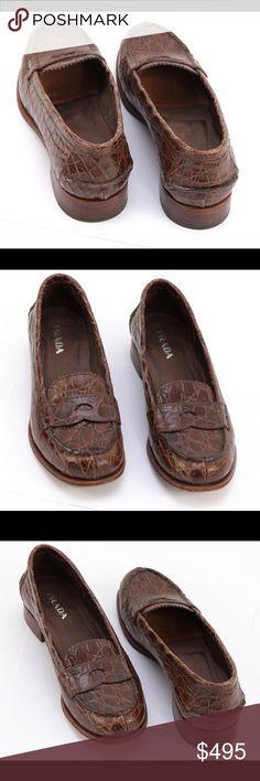 Prada Crocodile Leather Penny Flat Shoe Heel