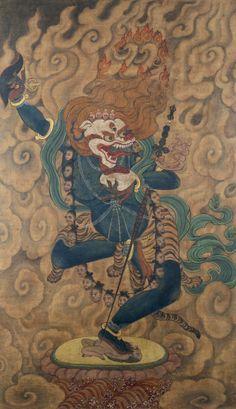 Simhamukha Dakini. Tibet. 1700s. Thangka related to the Secret...
