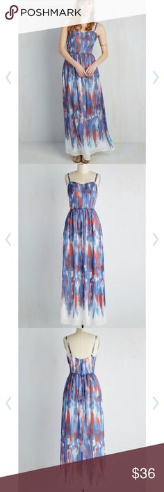 ModCloth Brushstrokes Maxi Dress Such a fun, happy, and breezy dress! Whimsical blue and red brush strokes pattern on white. Adjustable straps make it a good fit even for girls like myself who are vertically challenged. Gathered waist with back zipper and hook and eye closure.   Fully lined. Polyester. Length 55.5 in. ModCloth Dresses Maxi