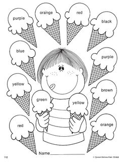 Kid Activities English Lessons Los Colores En Ingles Mas is part of English classroom - Preschool Learning Activities, Color Activities, Preschool Worksheets, Teaching Kids, Kids Learning, English Lessons For Kids, English Worksheets For Kids, Kids English, Learn English
