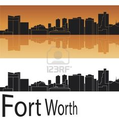 Fort Worth skyline in orange background Stock Photo