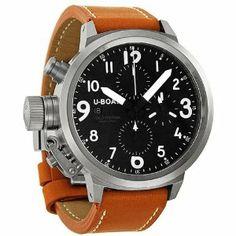 U Boat Black Dial Stainless Steel Orange Brown Leather Mens Watch 6249