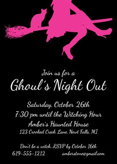 Ghoul's Night Out for a girl's night out Halloween! How cute for a Bachelorette party in October?