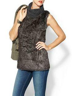 Pim + Larkin Fur Front T Neck Pullover Sweater | Piperlime