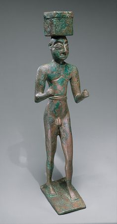 Man carrying a box, possibly for offerings Metropolitan Museum  Period:     Early Dynastic I-II Date:     ca. 2900–2600 B.C. Geography:     Mesopotamia Culture:     Sumerian Medium:     Copper alloy