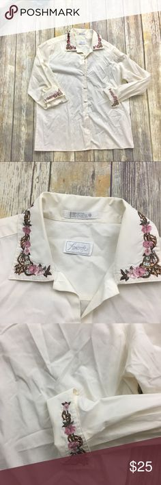 🎈 Foxcroft Off White Embroidered Button Up Blouse Off white Embroidered button Up Blouse. Size 12. In excellent used condition. 26 inches long. 24 inch sleeves.  19 inch arm pit to arm pit . Embroidered design around collar and sleeve cuffs. Foxcroft Tops Blouses