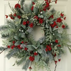 Christmas Wreath-Winter Wreath-Holiday Wreath-Elegant Holiday Wreath-Christmas Wedding-Designer Wreath-Elegant Holiday Wreath-Frosted Wreath by ReginasGarden on Etsy https://www.etsy.com/listing/252192269/christmas-wreath-winter-wreath-holiday